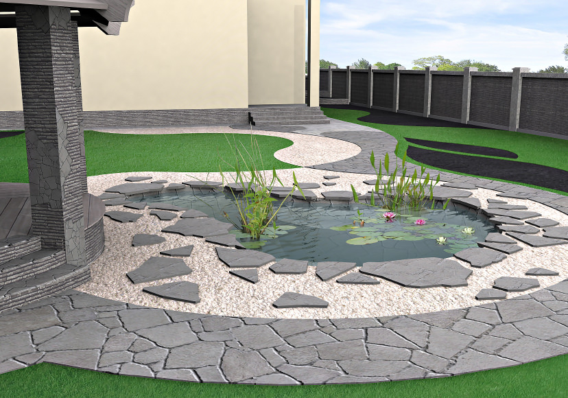 Who says you can't have a pond in a small area? This tiny pond has it all: a beautiful rock design around and a few red and white water lilies with some other greenery.