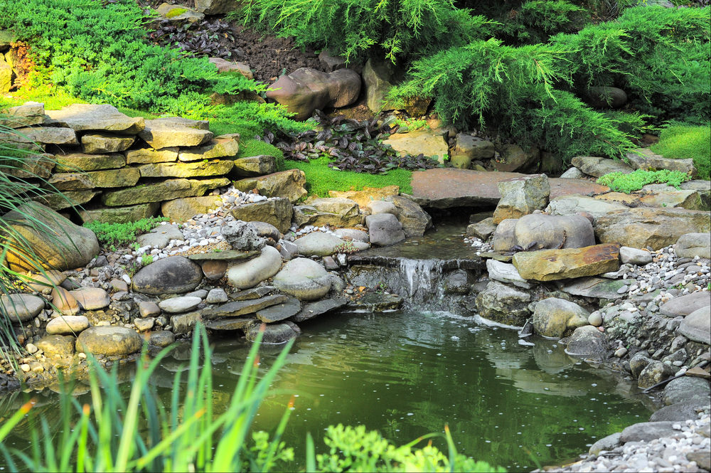 Deeper pond featuring a small water fall, and stacked rocks of different shapes and colors, giving it an interesting look.