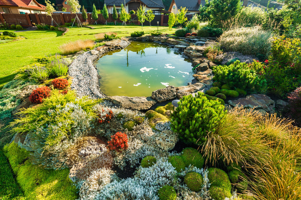 35 backyard pond images great landscaping ideas for Landscaping around ponds