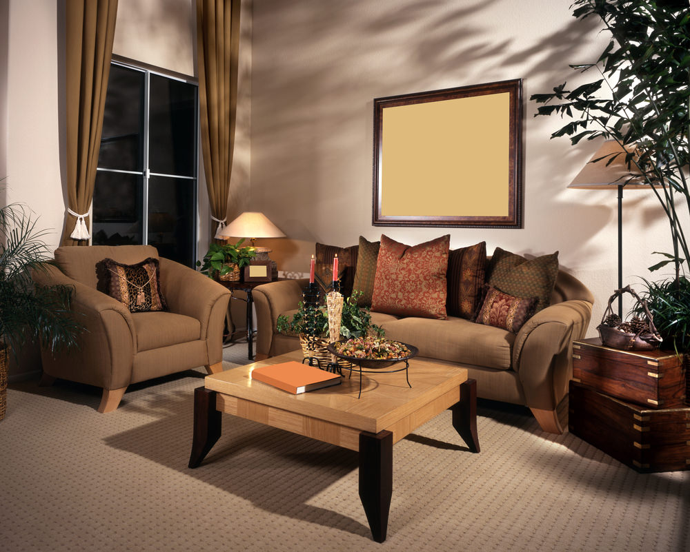 The warm color combinations of maple and walnut surfaced over the furniture  and extravagant sofa set