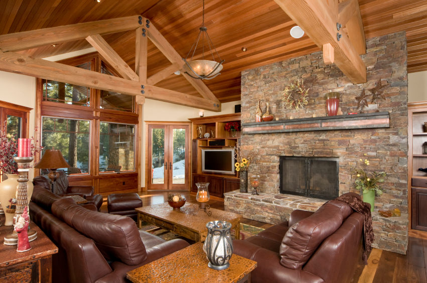 Cabin style interiors are often represented with wood and stone fireplaces  and so does these design