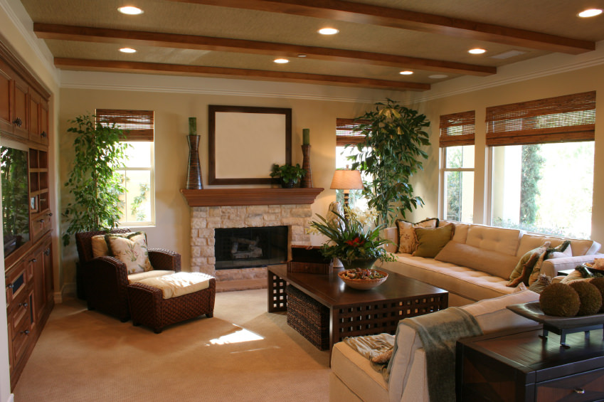 Hardwood Furniture Is Present Along With Exposed Beams In The Ceiling. It  Also Has A