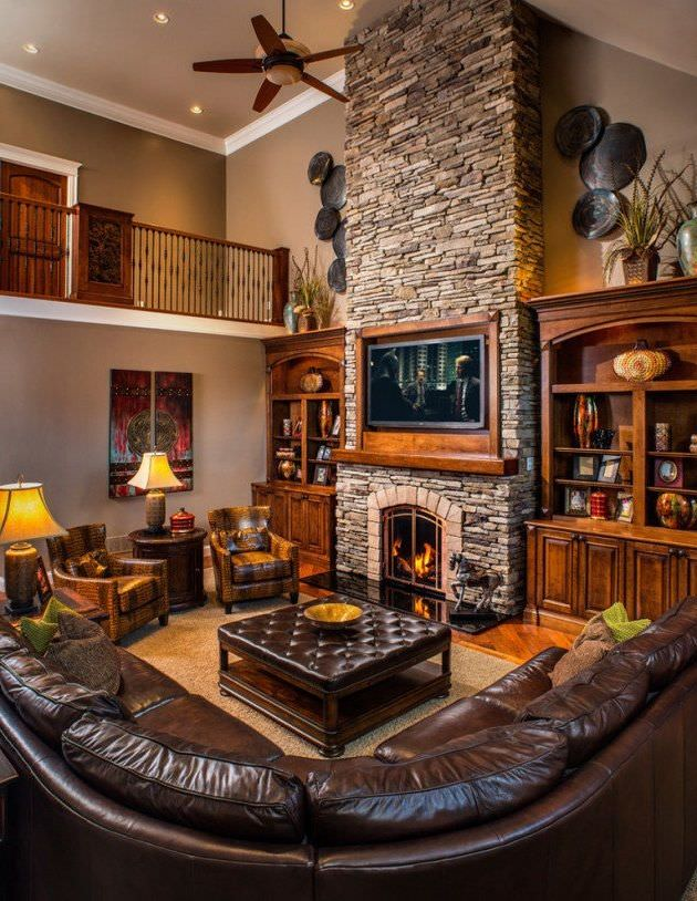 Quite An Overwhelming Design Of A Rustic Living Room With Mahogany Colored  Sofa And Ottoman In