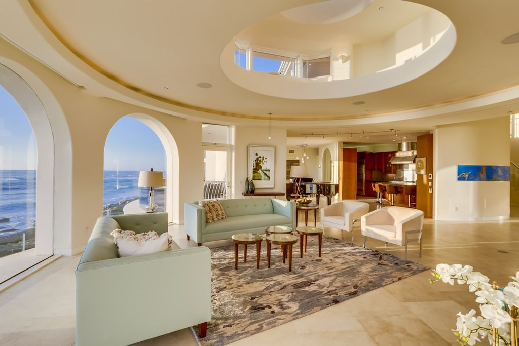 Mediterranean Inspired Interior Design With Glass Windows And Flooring On  The Second Level, Showing A