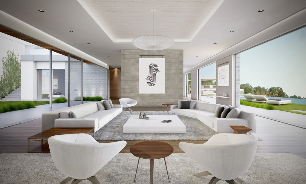 A modern design interior with open walls overviewing the greenery blue waters outside. A soft grey shade accented in walnut furniture, floor and borders provides a subtle tone interior.