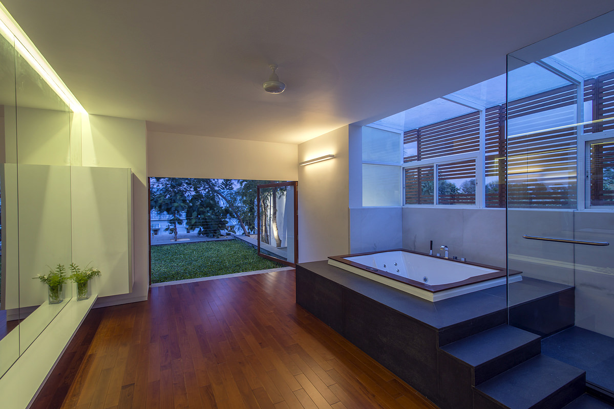 Spacious modern bathroom in home located in India