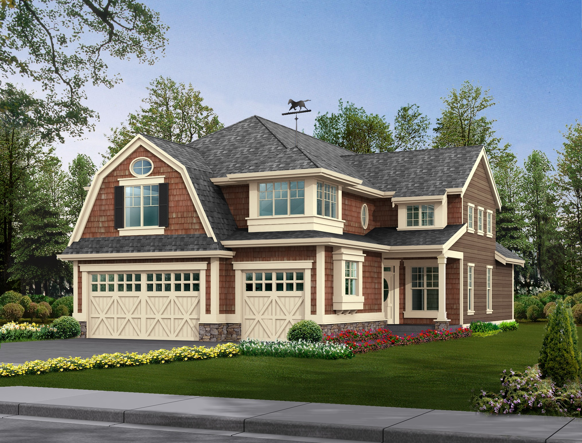 Home with an intricate roof design that includes a gambrel design along with other roof styles such as gable.