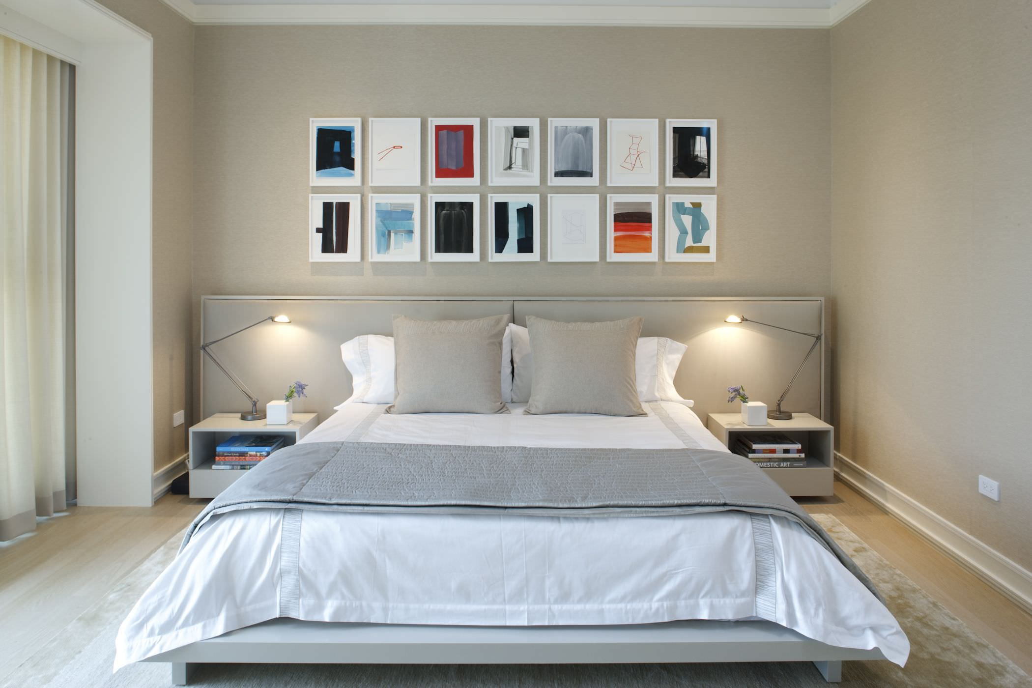 The lower bed creates more space giving the impression of a larger master bedroom.