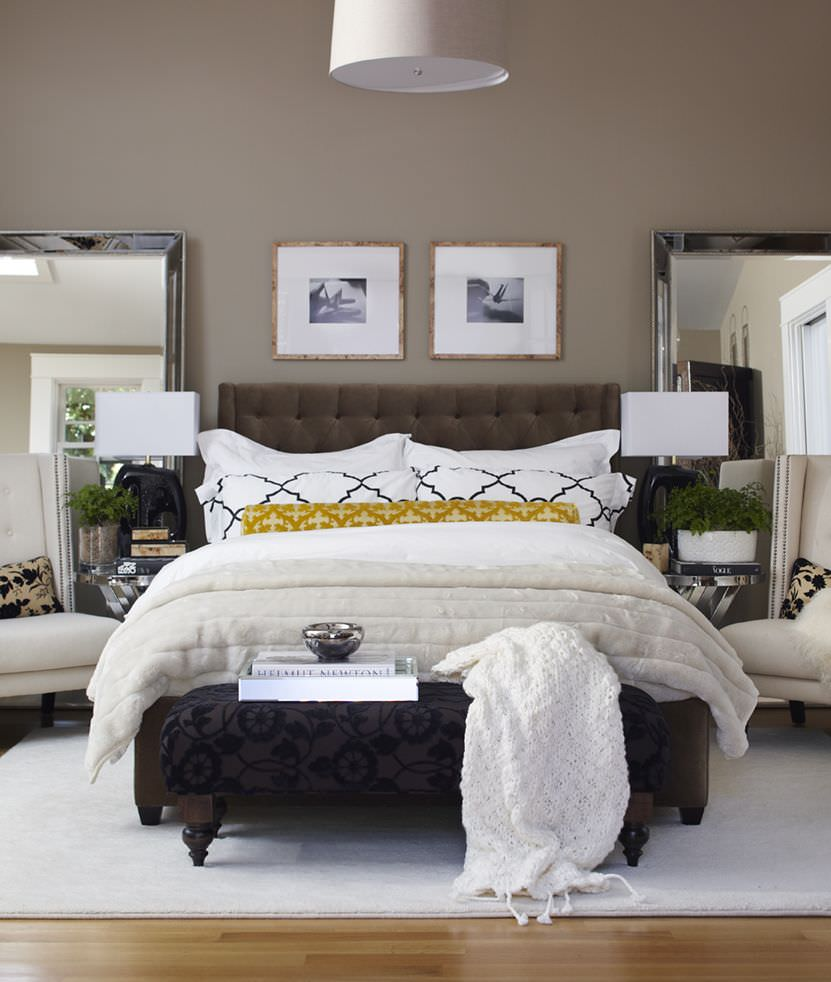 master bedroom with chairs and mirrors one would think adding more furniture would be bad but i really like how this - Small Master Bedroom Decorating Ideas