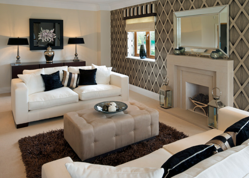 Given The Warmer Tones In This Living Room, The Pair Of White Cushioned  Sofas Brightens