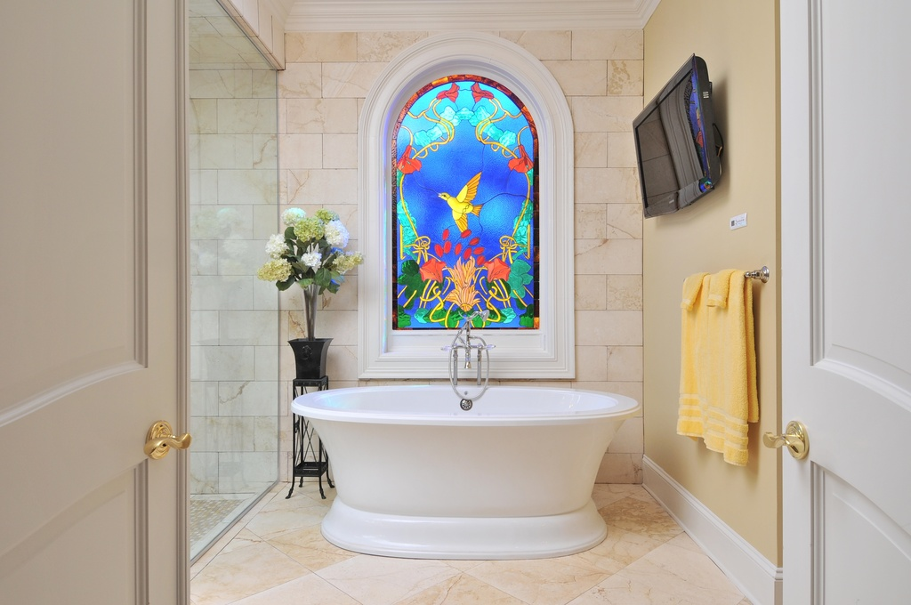 Elegant Stained Glass Window In Bathroom