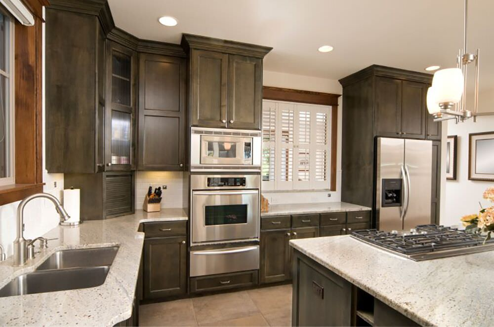 Great Interesting Color Makes Up The Cabinets In This Custom Kitchen Design With  A Stainless Steel Wall