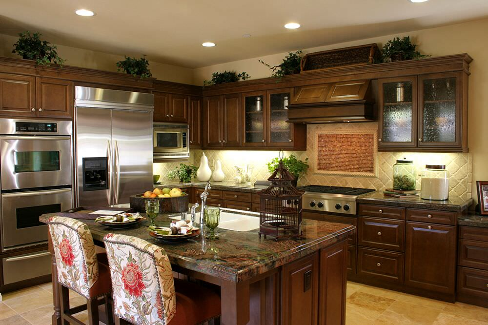 Delightful Dark Kitchen Design With Stainless Double Wall Oven Next To Stainless  Refrigerator.