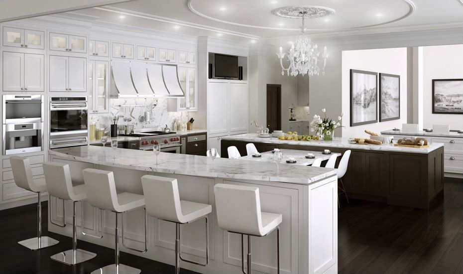 I love the contrast of white and dark wood in this richly designed kitchen that features several eating areas and a double wall oven.