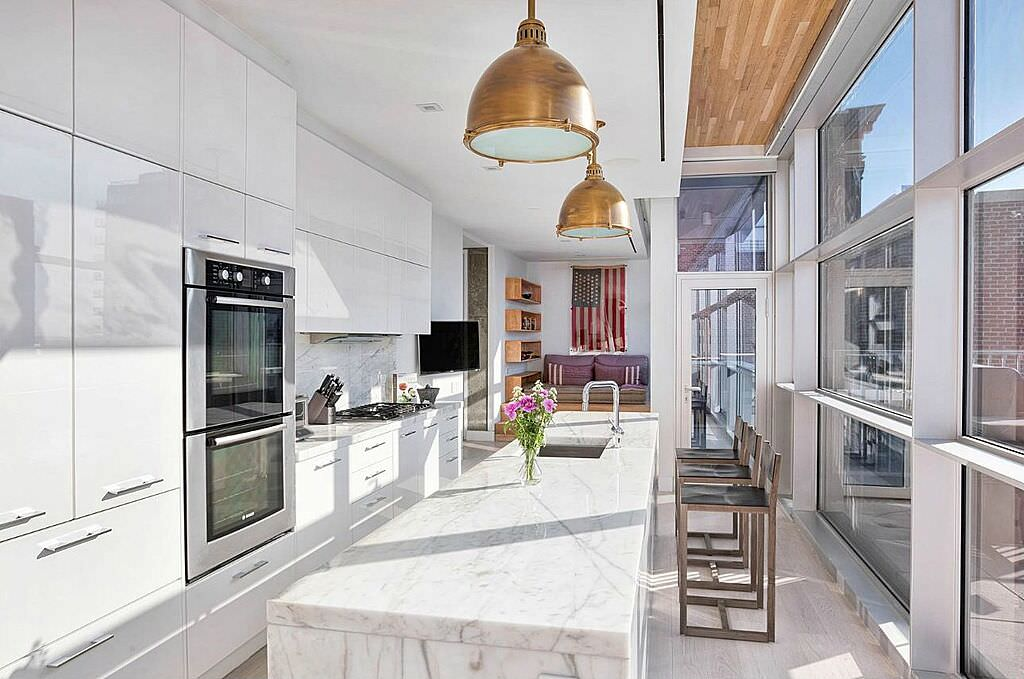 Great Light Filled Modern Kitchen With Floor To Ceiling Windows And A Double Wall