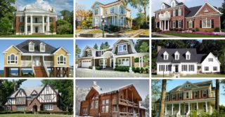 Home architectural styles collage.