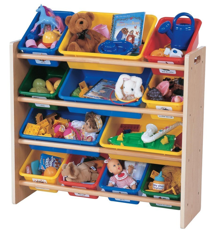 Free standing toy organizer with colorful plastic bins