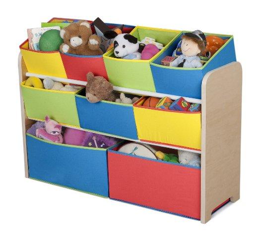 Angled fabric bin toy organizer design