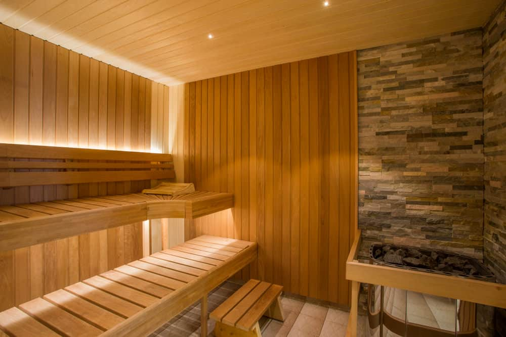 Two bench tiers sauna