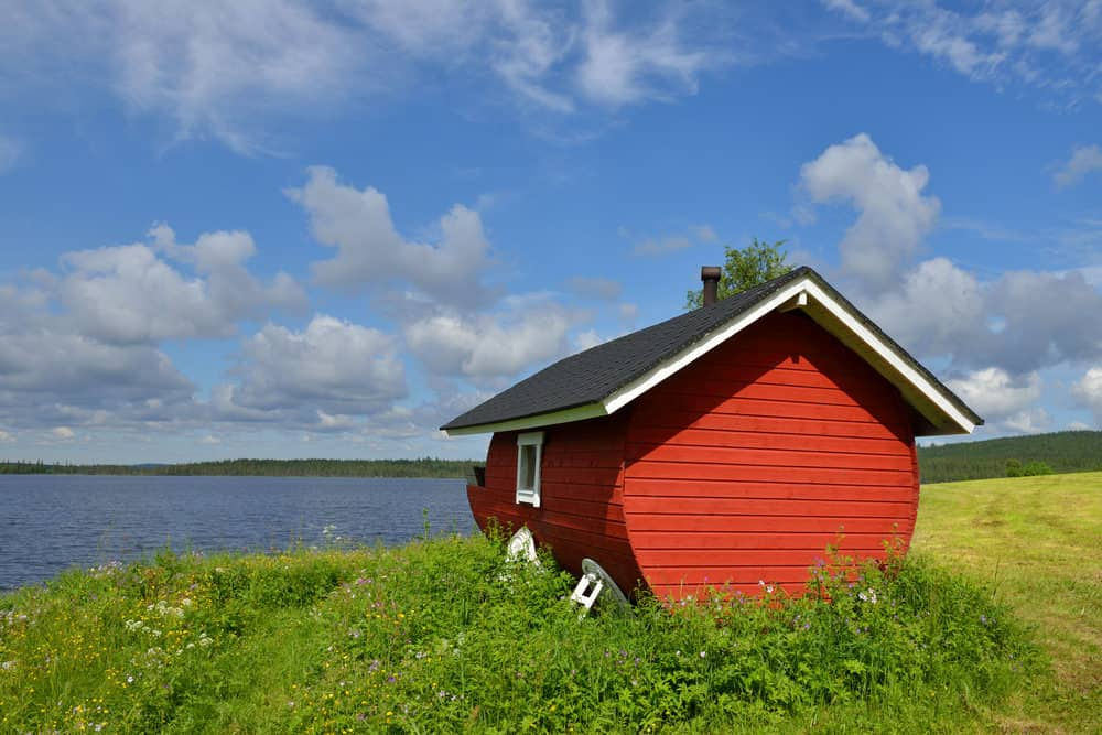 Traditional red sauna hut in Finland