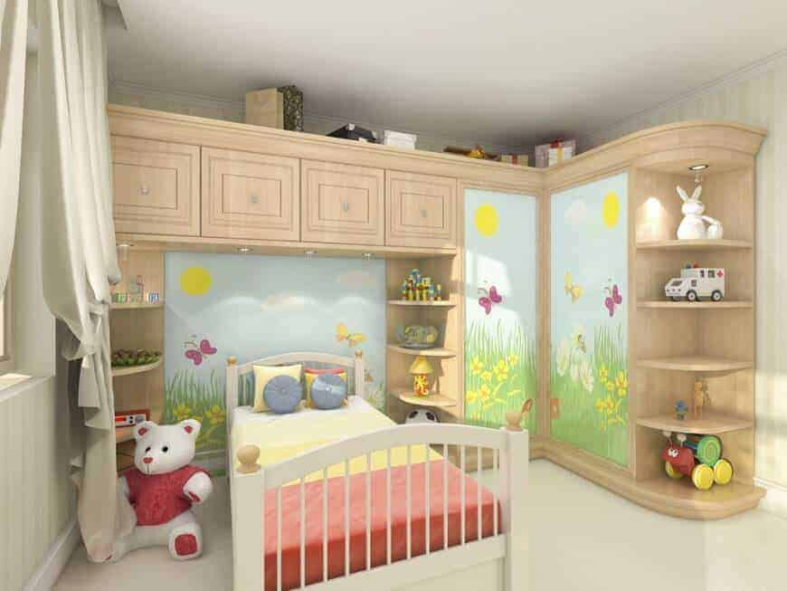 This bedroom offers a wooden bed along with built-in storage and shelves painted with a charming mural that brings a cheerful tone in the room.