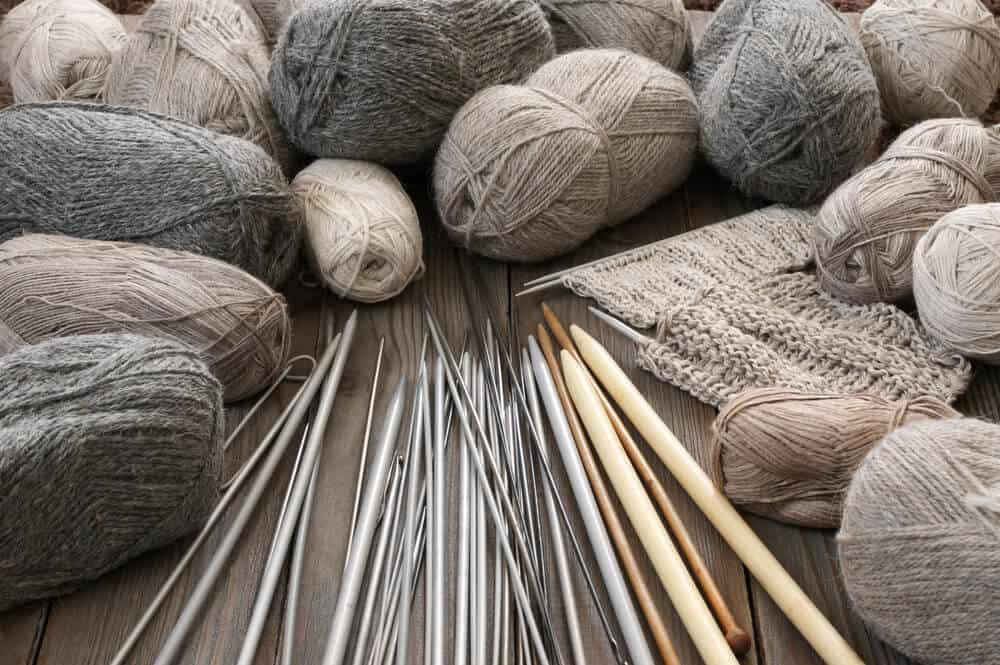Knitting needles and threads.