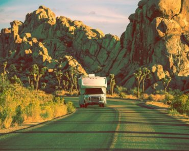 RV motorhome on the road