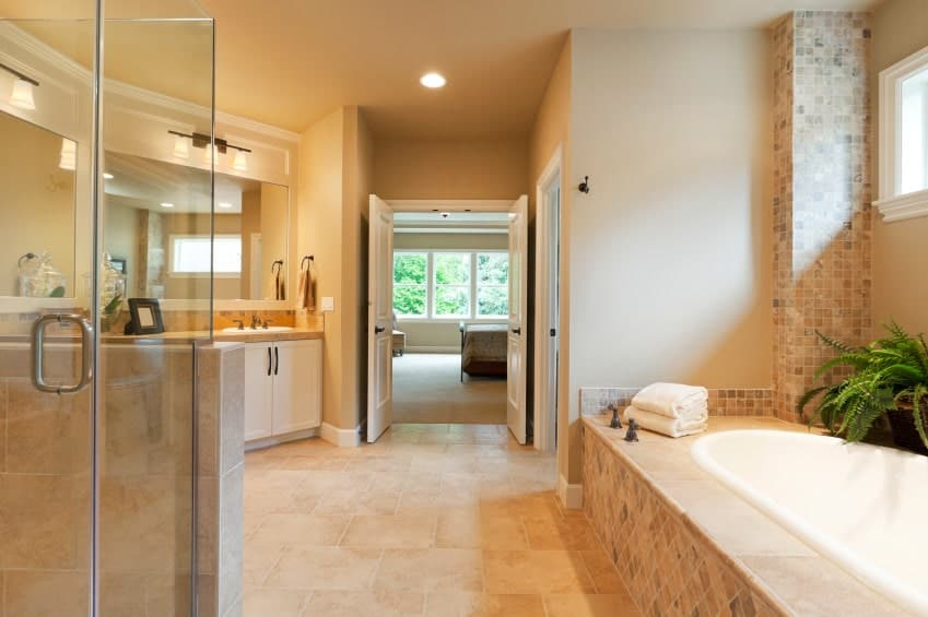 This master bathroom showcases a walk-in shower and drop-in bathtub topped with potted plants. There's a white sink vanity near the double door that leads out to the master bedroom.