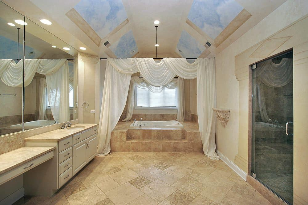 60 Beige Mediterranean Style Master Bathroom Ideas Photos