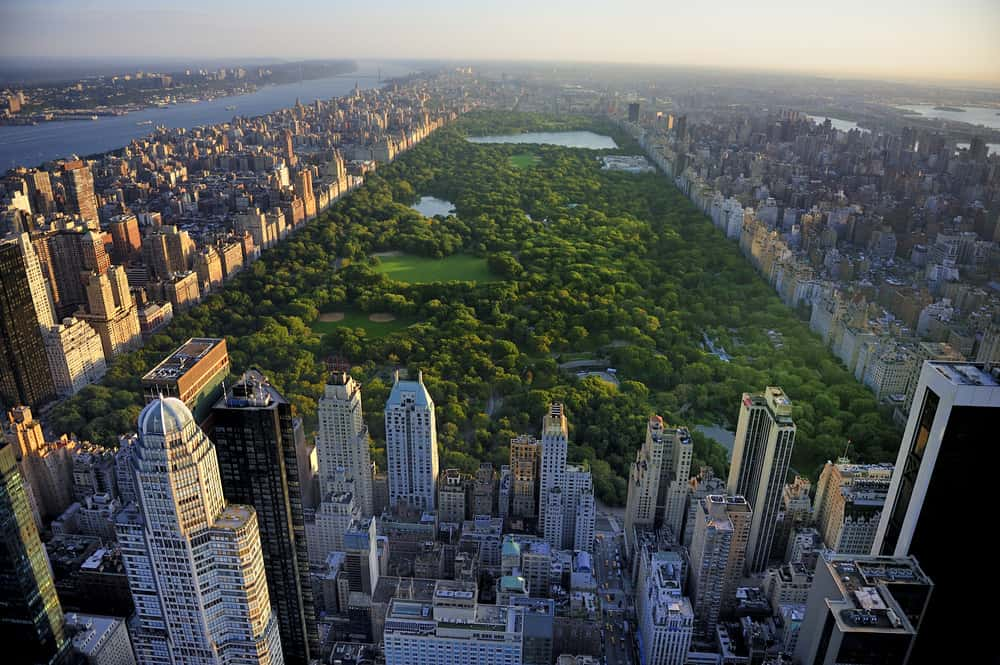 Aerial view of Central Park in NYC