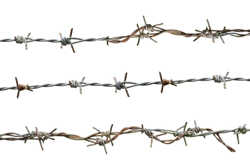Three rows of barbed wires.