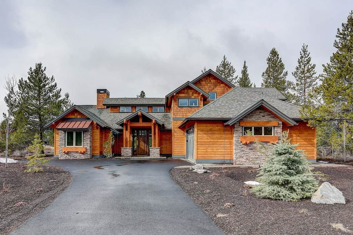 Exterior of a rustic mountain craftsman home.