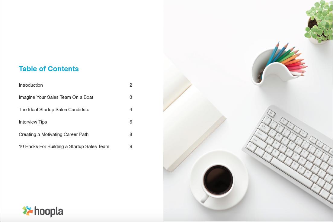 table of contents ebook sales hires