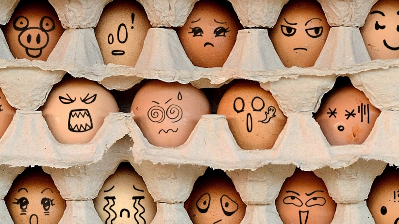 Egg Carton with faces drawn on the eggs