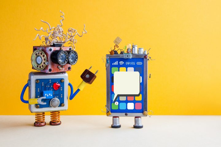 Toy smartphone and robot assistant.