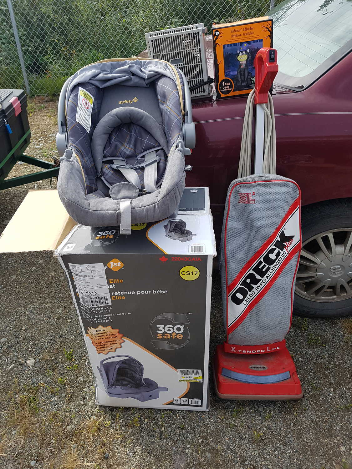 baby car seat 60.00 oreck 60.00 inflatable cat 5.00 heater 8.00