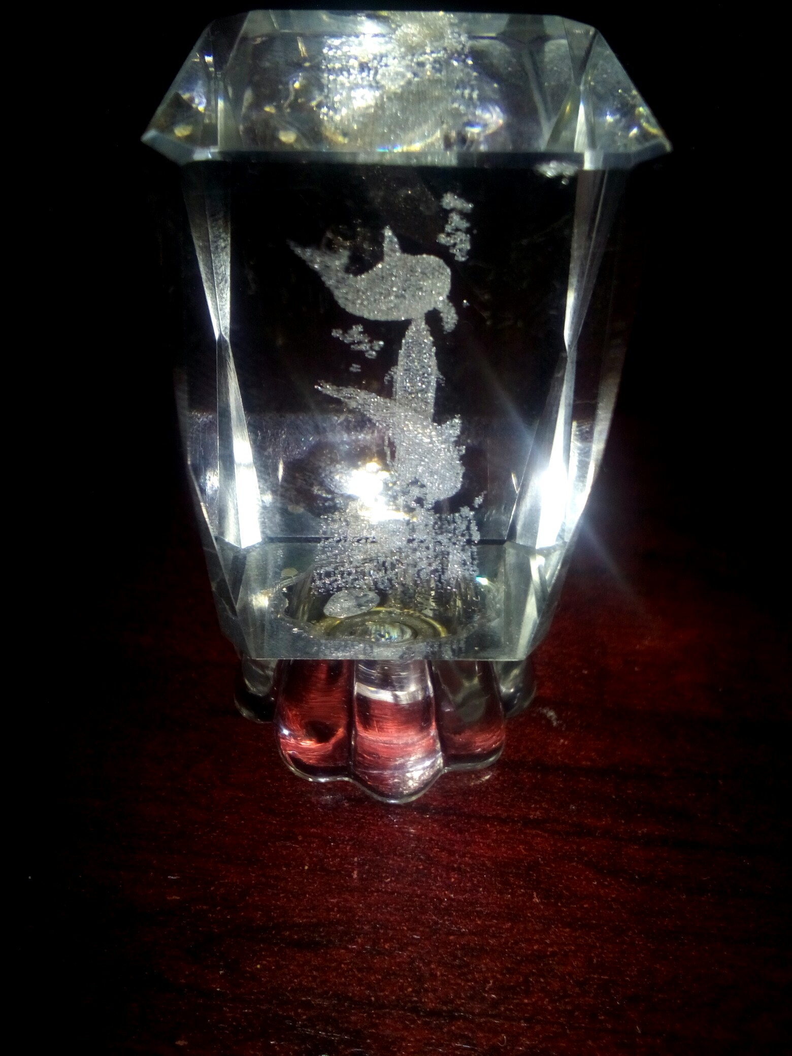 Feature dolphin crystal cut glass