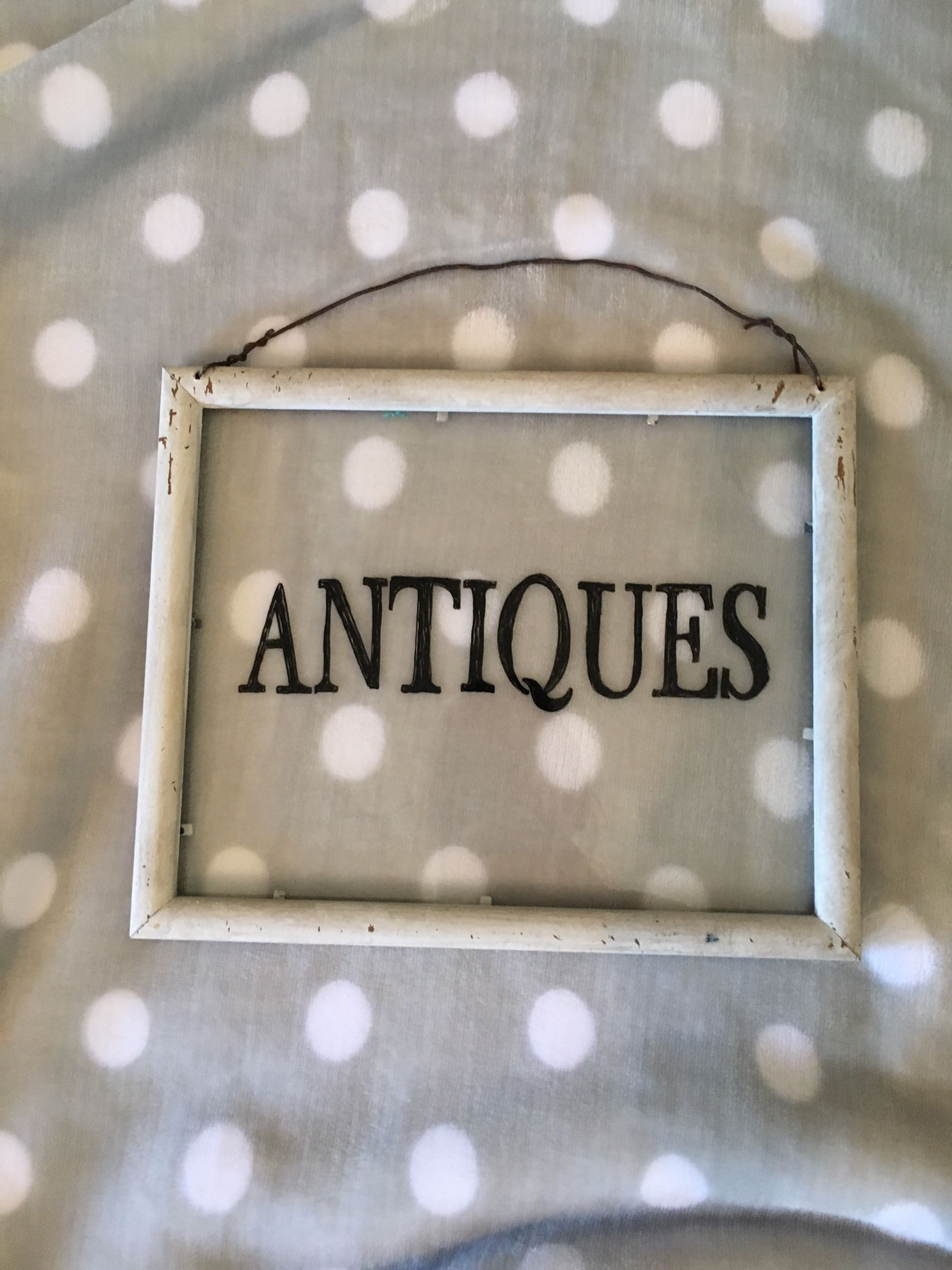 """""""Antiques"""" Glass Hanging Sign"""