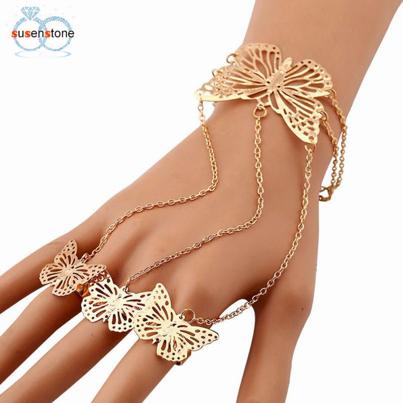 SUSENSTONE Simple Hollow Butterfly Bangle Finger Bracelet Chain
