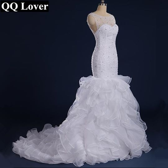 Gorgeous Beaded Mermaid Wedding Dresses Sheer Back and Neck Ruffles