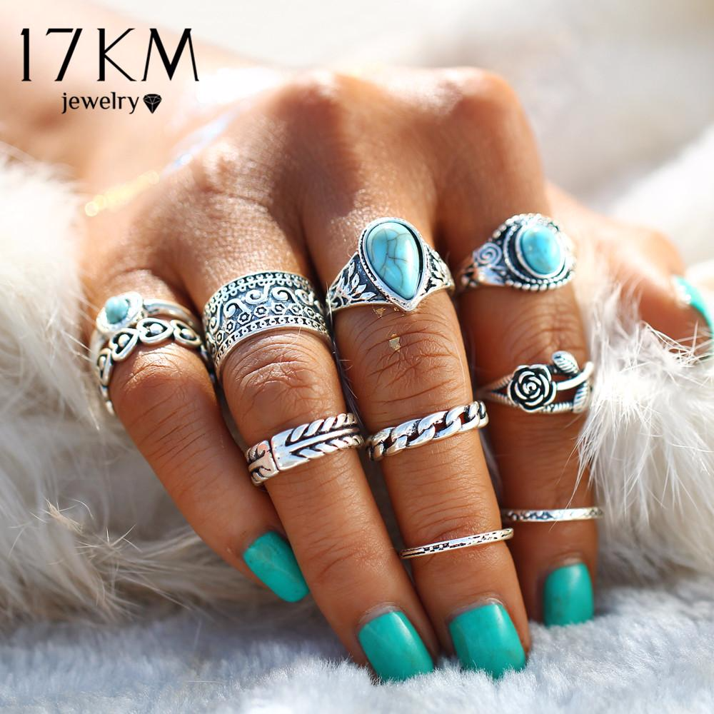 17KM 2 Color Rose Heart Ring Flower Knuckle Rings