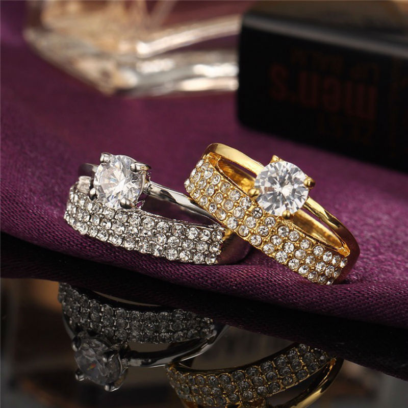 17KM Brand Ring For Women Gold/Sliver Color Shining Crystals
