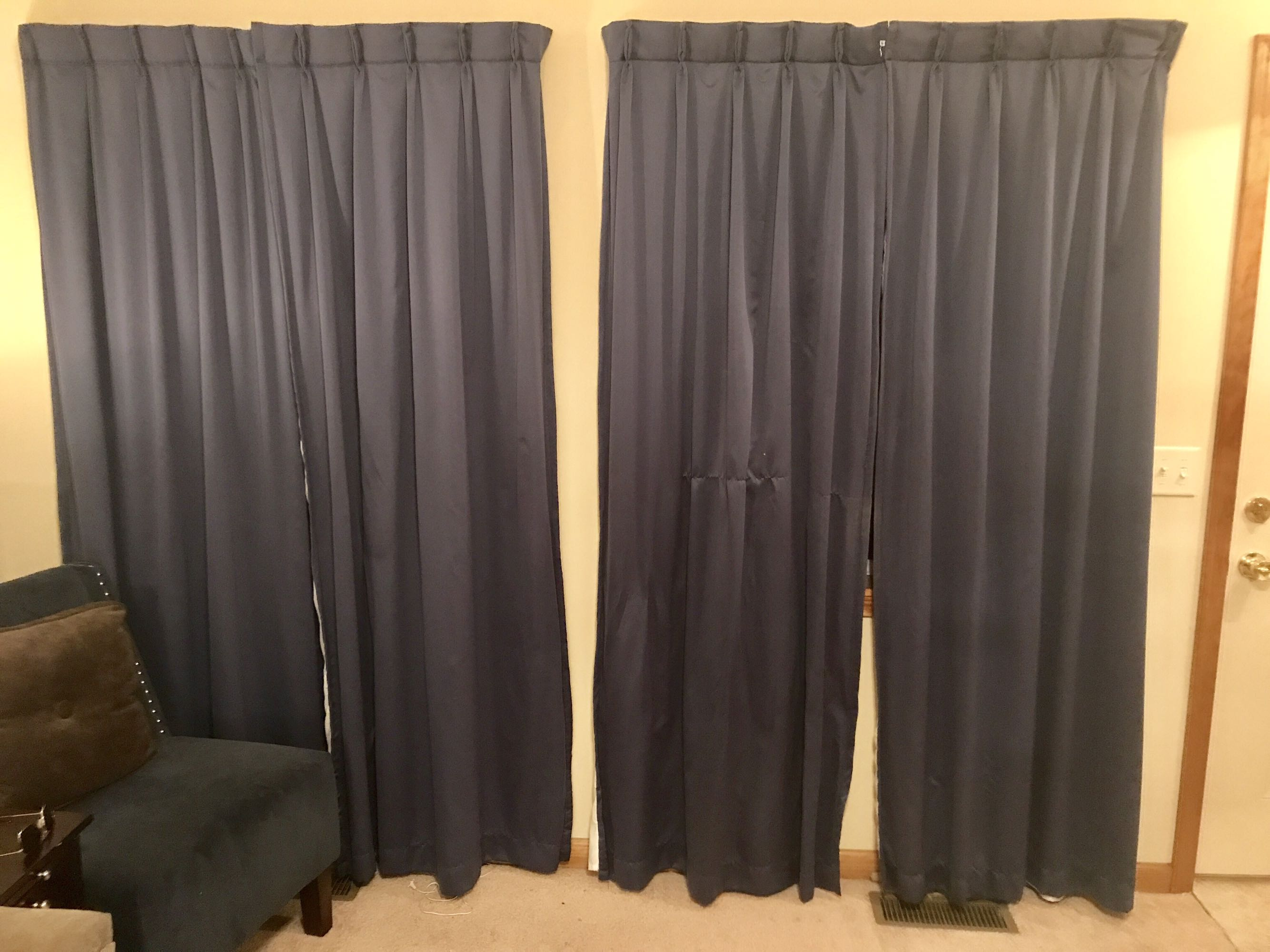 Cindy Crawford Style floor length curtains, blue