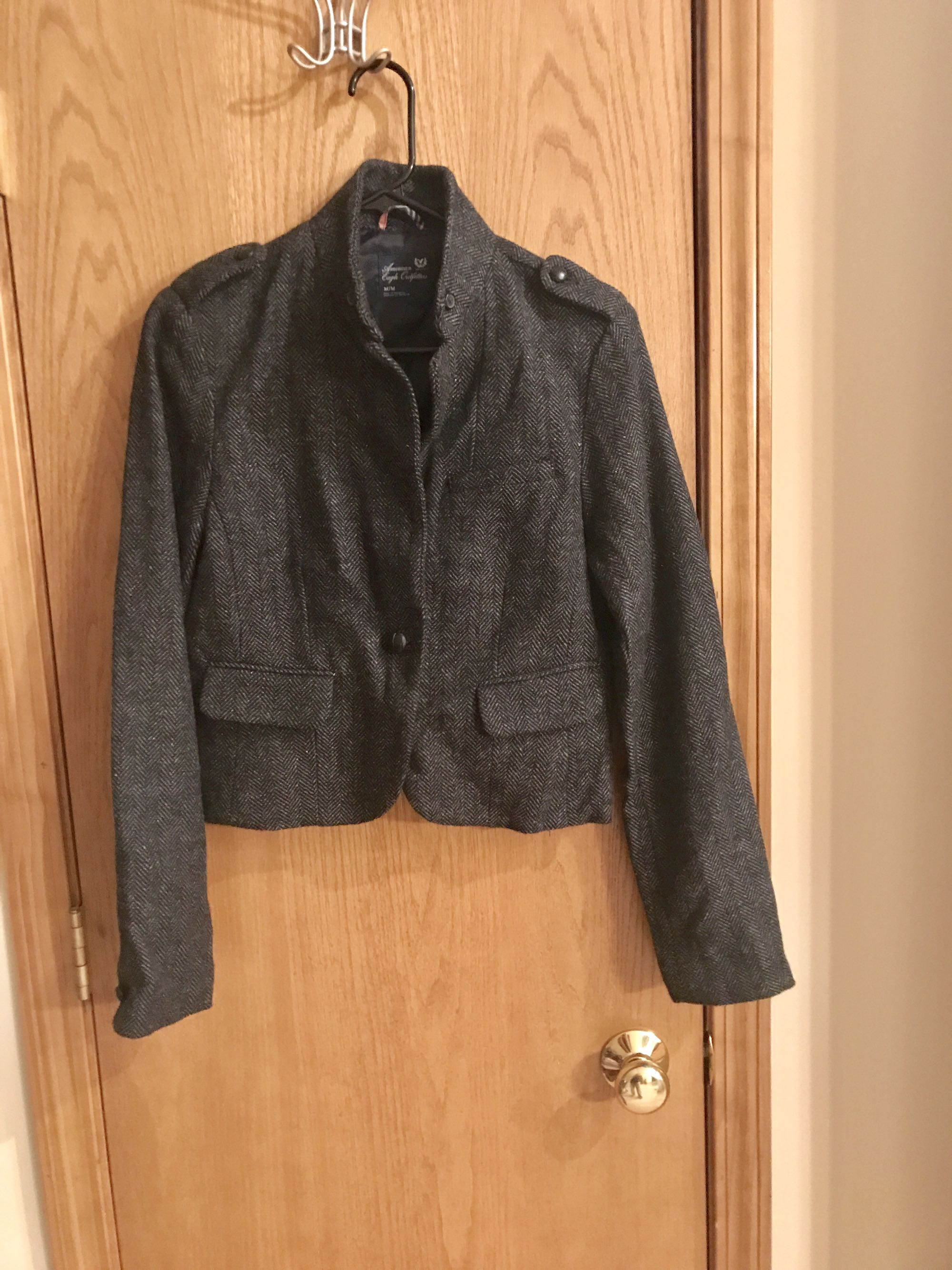 American Eagle gray jacket, medium, worn once basically new