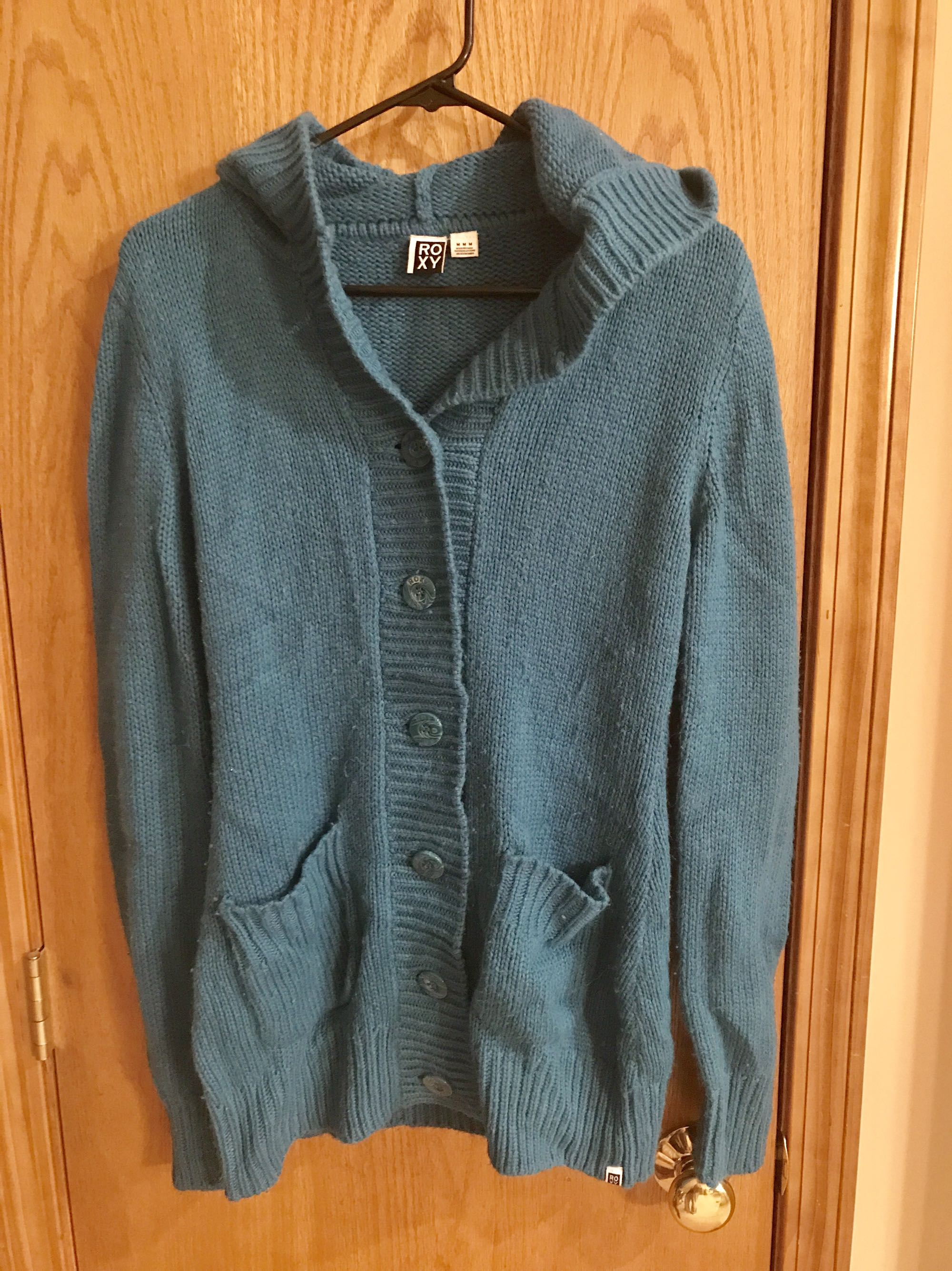 ROXY brand button up hooded sweater