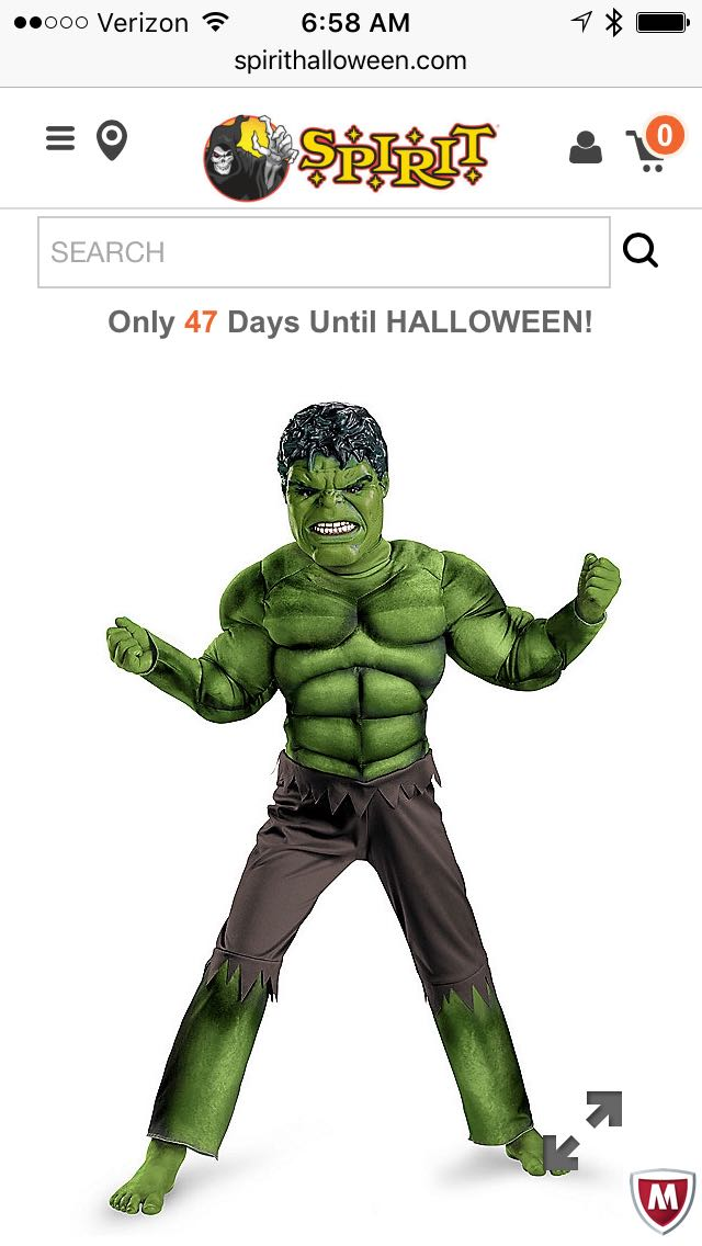 ISO Boys small Hulk costume