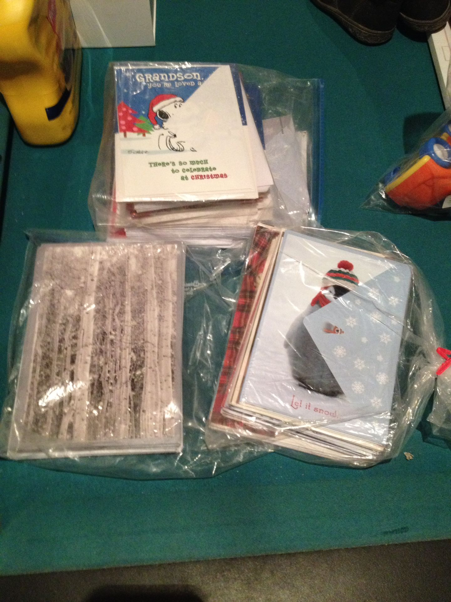 Lots of Christmas cards and envelopes