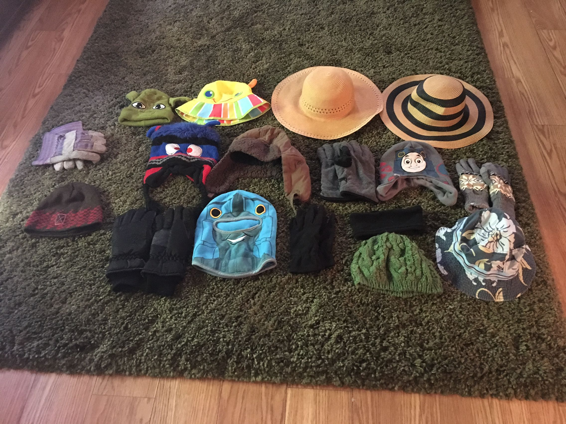 Lot of hats and gloves