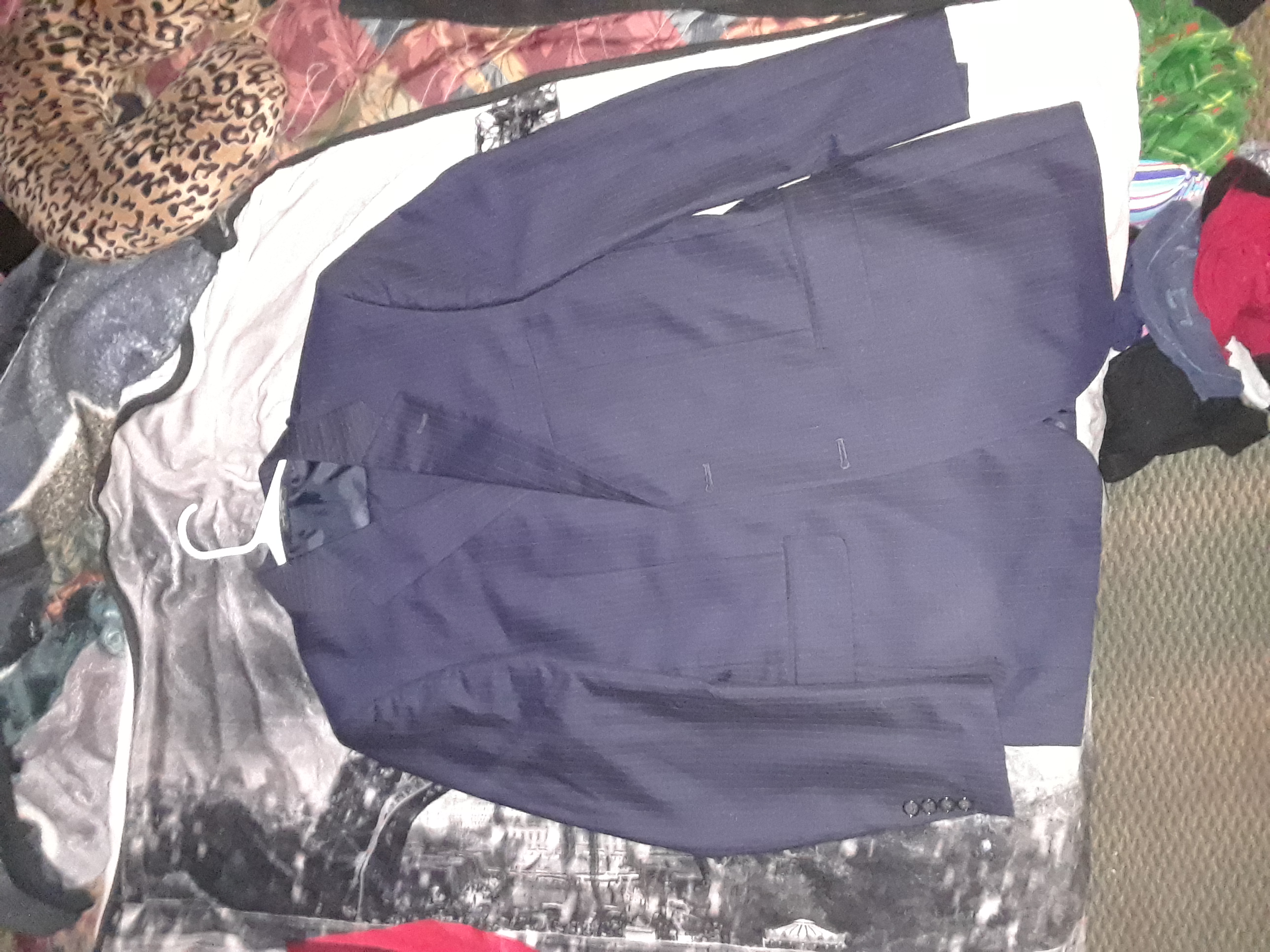 Jones New York navy blue Dexter stripped Sport coat and pants suit