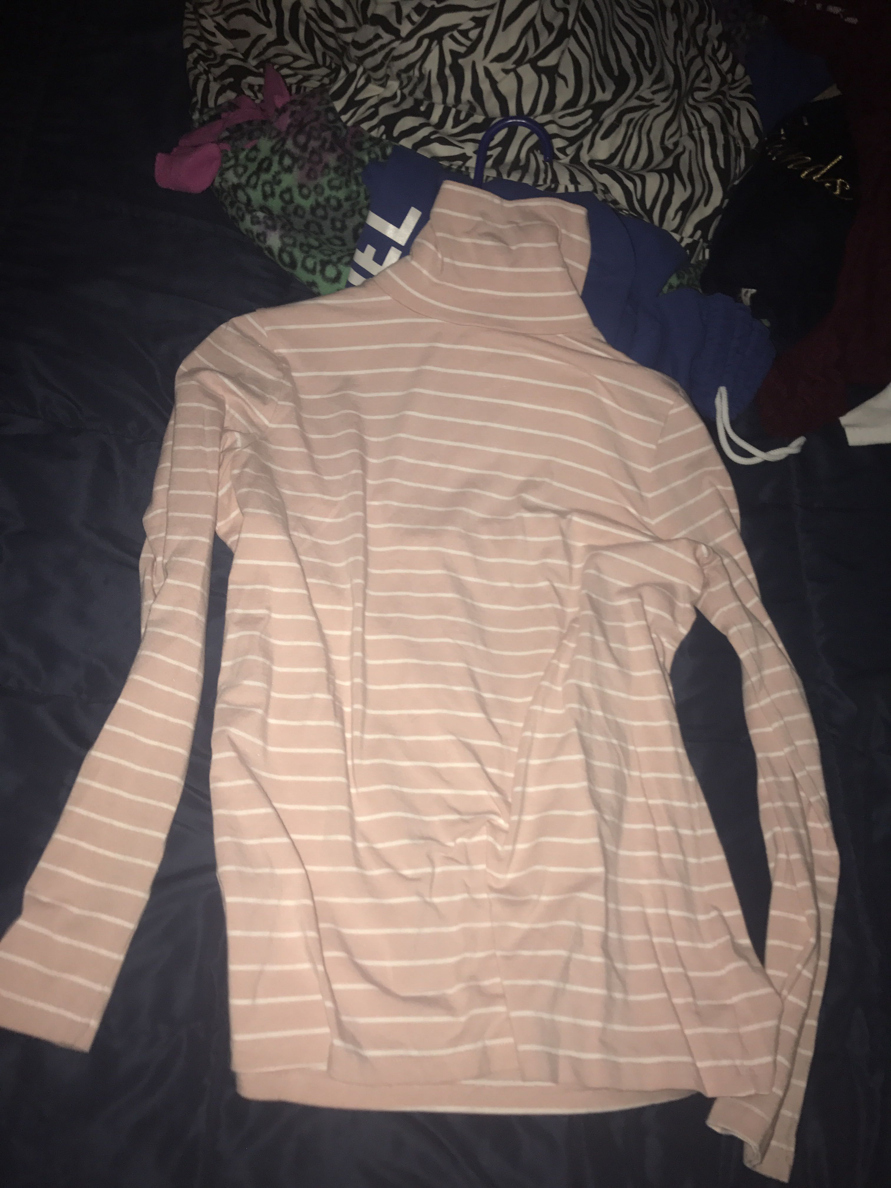 Pink/White turtle neck long sleeve